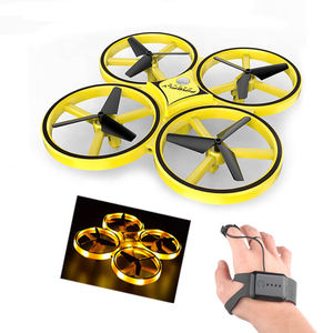 Direct factory price novelty 2.4g infrared gravity sensor hand induction rc watch mini drone with light