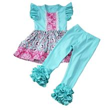Persnickety Girls Outfits  Wholesale Children`s 2019 Spring/winter Clothing Flutter Dress and Ruffle Pants Sets Boutique