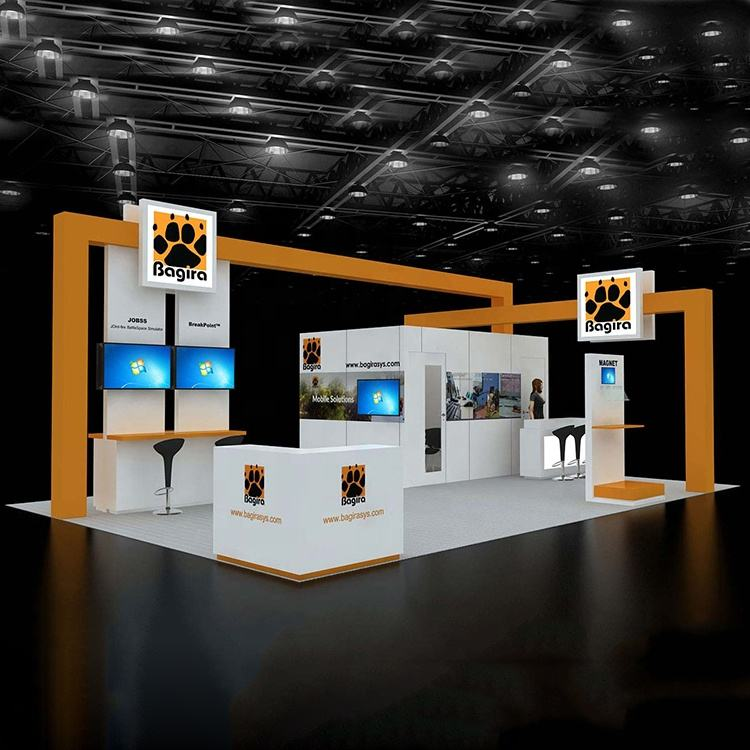 20ft Portable Custom Trade Show Displays Booth Kit Pop up stand Exhibitions with Hanging Sign Counter Lights