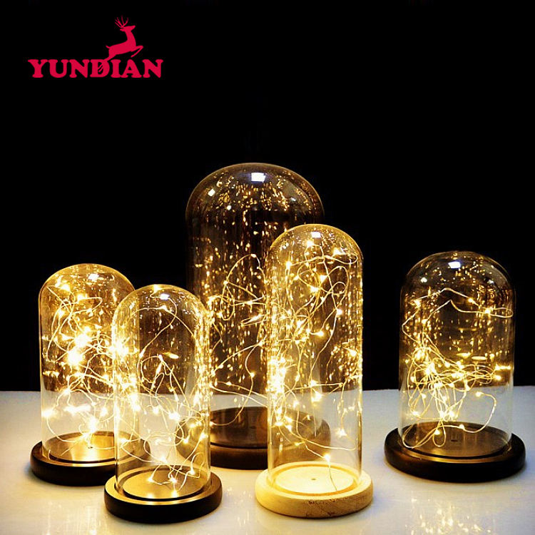 Factory Wholesale Different Size U-Shape Bell Display Cloche Transparent Clear Led Lighting Glass Dome With Base Wood Home Deco