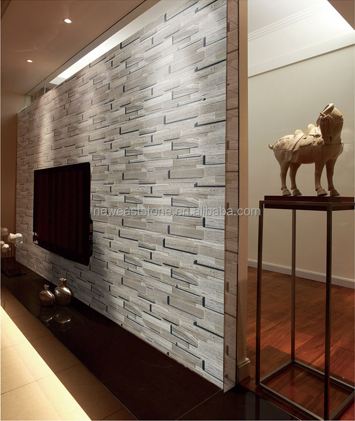 China white wood marble culture stone wall panels for interior