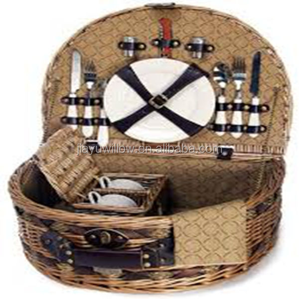 HOT 100%Handmade Natural willow wicker picnic tray basket