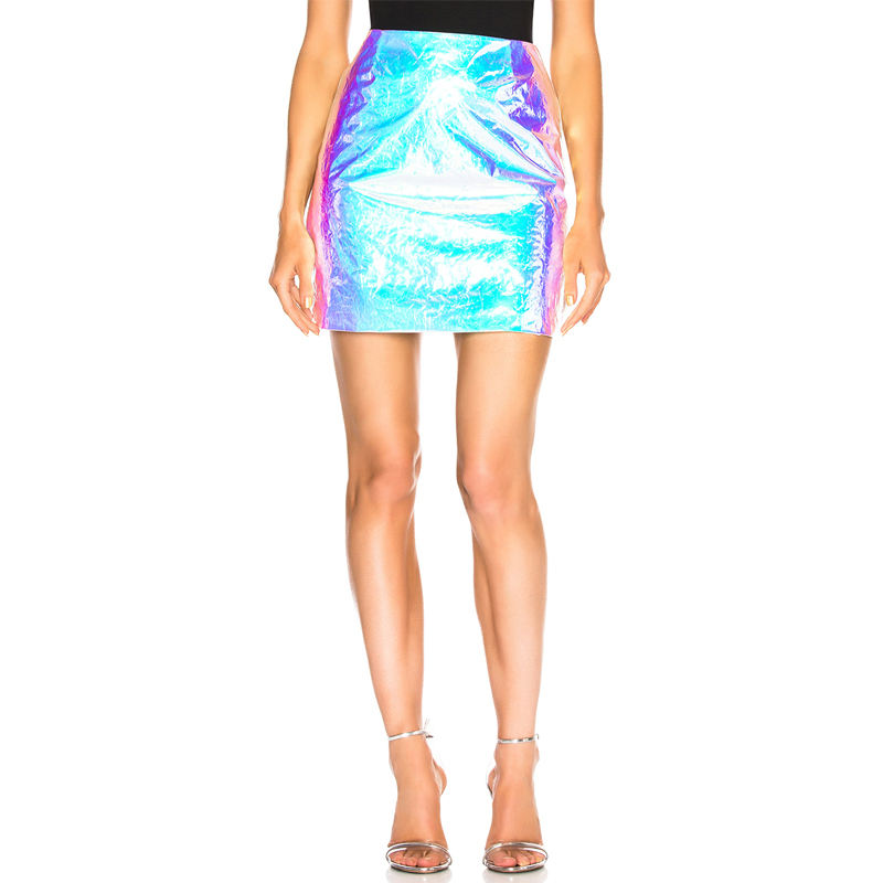 OEM Women High Waist Iridescent Wrinkled Mini Skirts