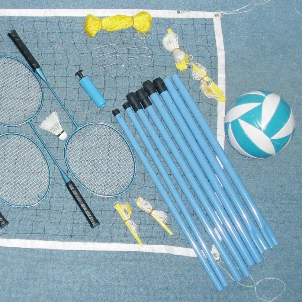 2 in 1 Volleybal & Badminton Combo Training Netto Set Pole Stand