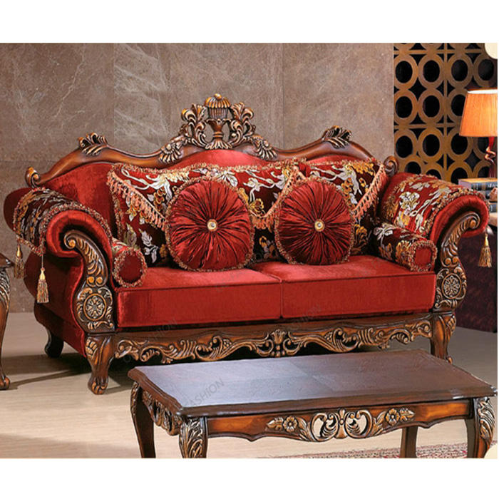 Red velvet livingroom solid wood frame carving arabic sofa set designs