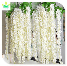 6/12 Piece Artificial Fake Wisteria Vine Rattan, Hanging Silk Flowers String for Home Party, Yard and Wedding, White