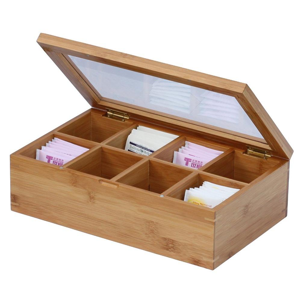 High Quality Removable Bamboo Tea Bag Organizer Box Tea With 8 Set For Wholesale