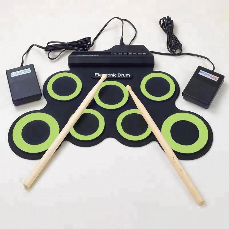 Silikon Hand Roll Up E-drum Kit Faltbare Elektrische Drum Set E USB Mini Practise Musical Trommeln Sets Kinder Tragbare