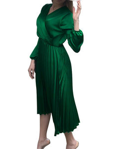 Wholesale women clothes casual elegant fashion european style long sleeve midi dresses
