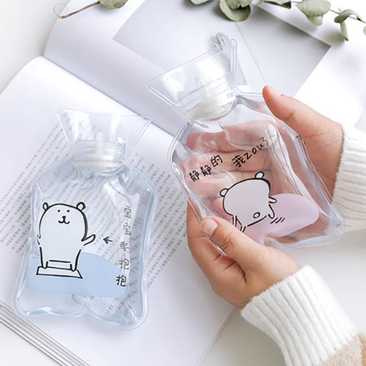 Cartoon PVC Mini Hot Water Bag Water Filling Explosion-proof Portable Transparent Warm Hand Treasure