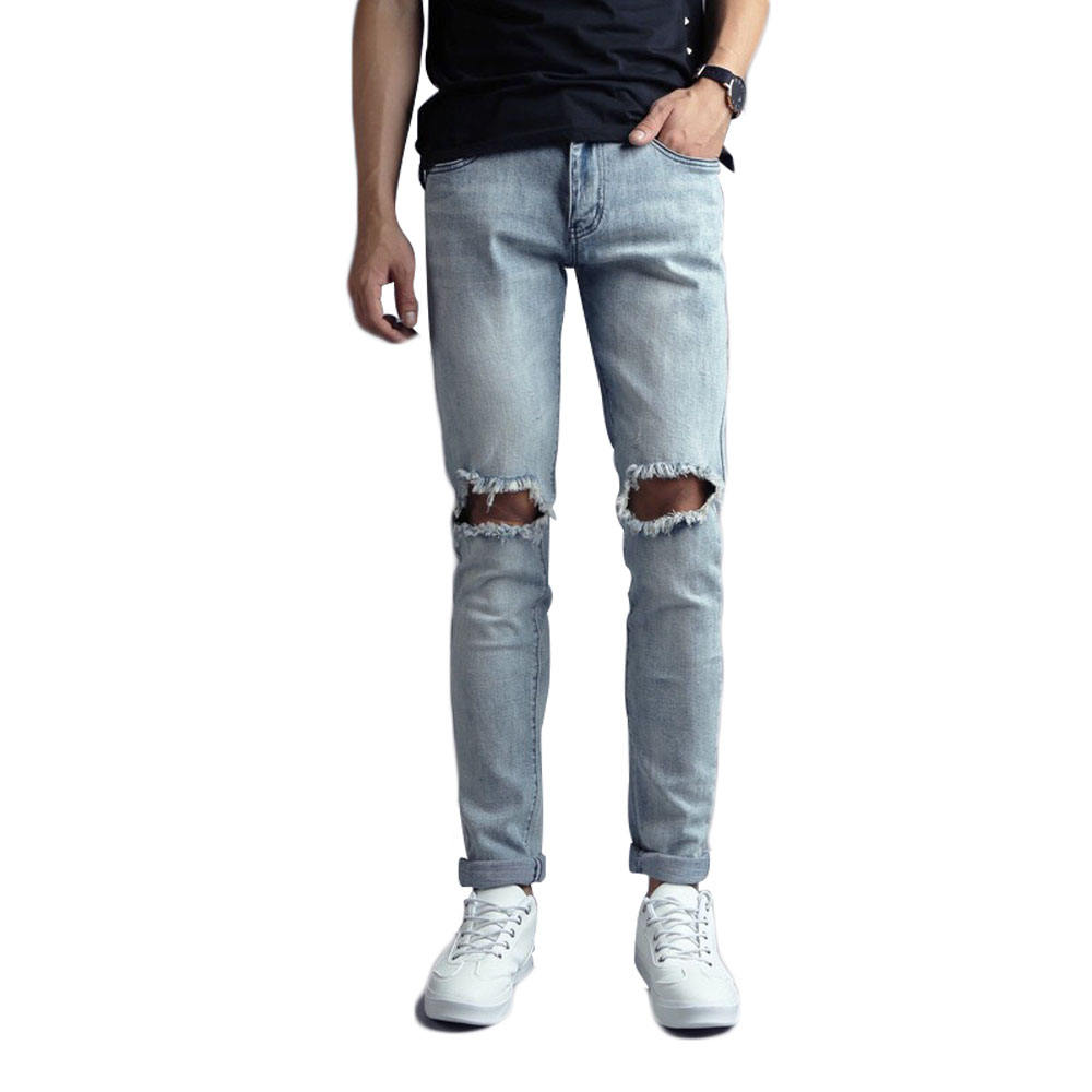 Guangxi manufacturing custom men ripped damage destroyed pant denim jeans skinny stretch jeans with hole stock lot for men