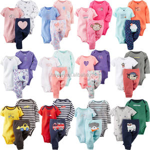 Fashion baby kids long sleeve cotton romper clothing set wholesale