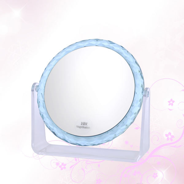 2018 best selling round shape crystal desktop makeup mirror free standing mirror cosmetic table mirror 10X magnifying