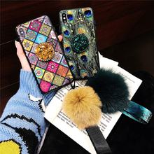New arrival Women Girl Soft TPU Case Epoxy fur ball phone back cover case for iphone 6s x xr xs max