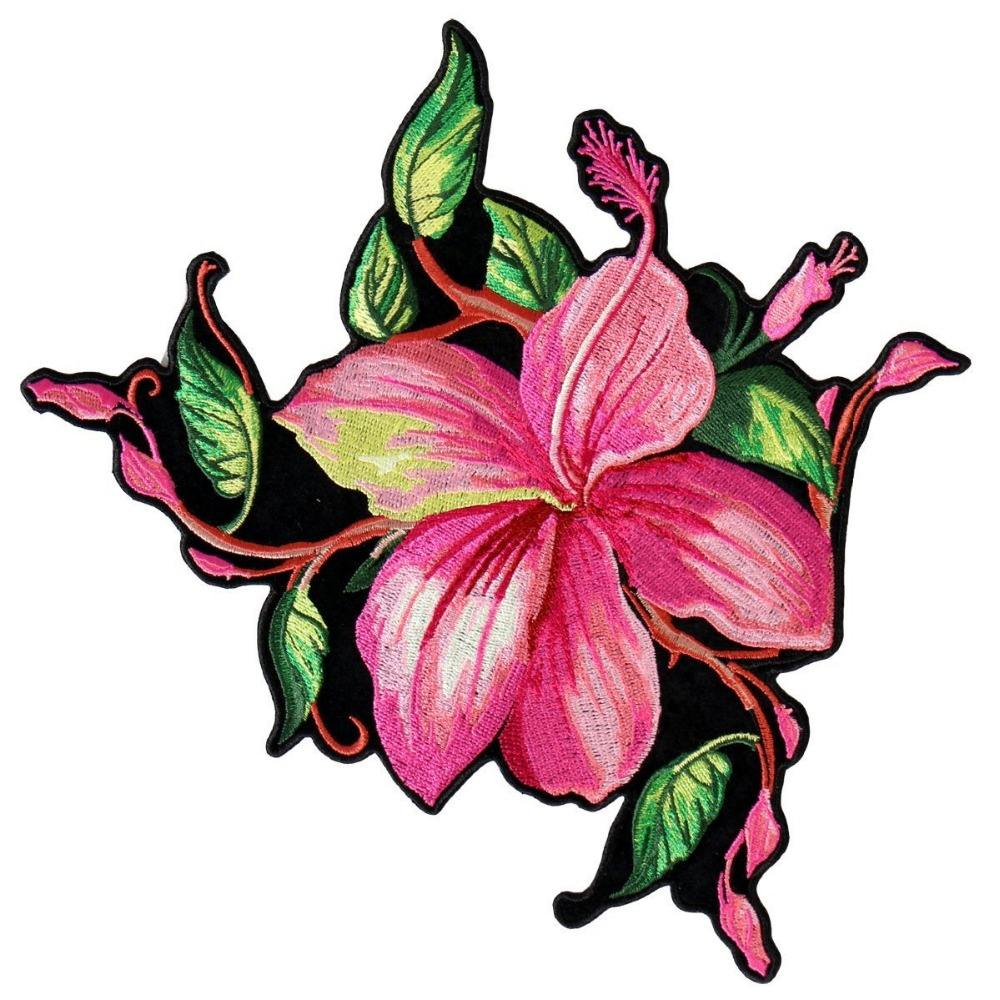 "Hot Leathers, BIG FLOWER, High Thread Embroidered Iron-On / Saw-On Rayon PATCH - 4"" x 4"", Exceptional Quality"