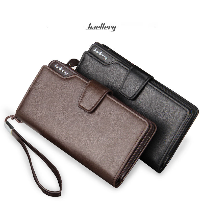 Wholesale baellerry men's high capacity 3 fold pu leather clutch wallet