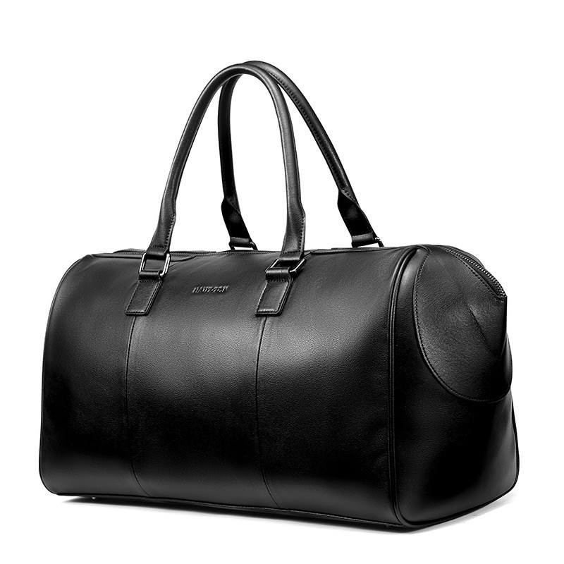 Hautton Latest High Quality Leather Black Duffle Bag Large Capacity Tote Bag Waterproof Travel Hand Bag