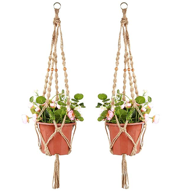 QJMAX Amazon Best Selling Vintage Knotted Hemp Rope 4 Legs Hanging Flower Basket