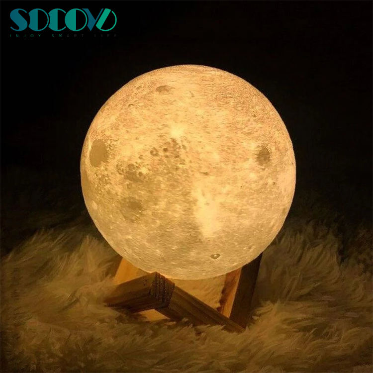 Hot Big Size 22cm 16 color remote control 3D Print Real Sun Moon Lamp night light Birthday Party or Nursery Present