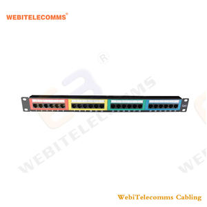 Toolless Cat6 red Panel UTP 1U 19 ''24 puertos RJ45 corona chaquetas de Panel de acero