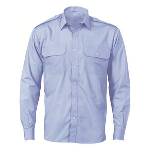 Epaulette Polyester/cotton blue long sleeve work shirt
