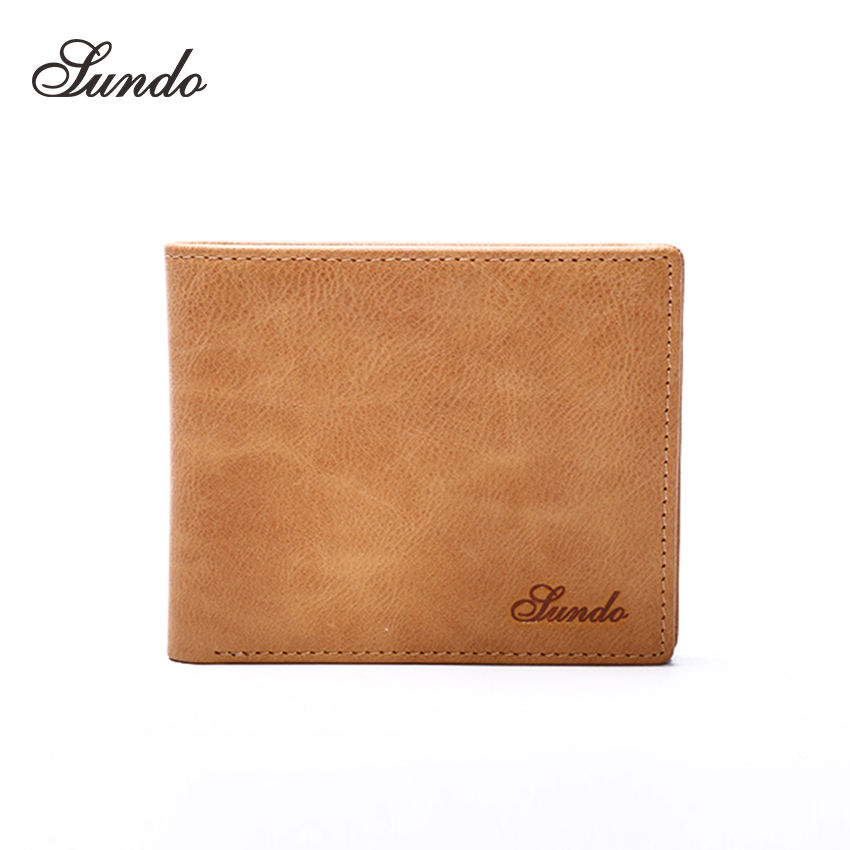 Trendy Top Grain Oil Wax Leather Wallet Bifold Coin Purse Men wallets