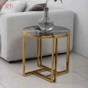 Luxury Round Glossy Top Coffee Table Art TitaniumTable Furniture
