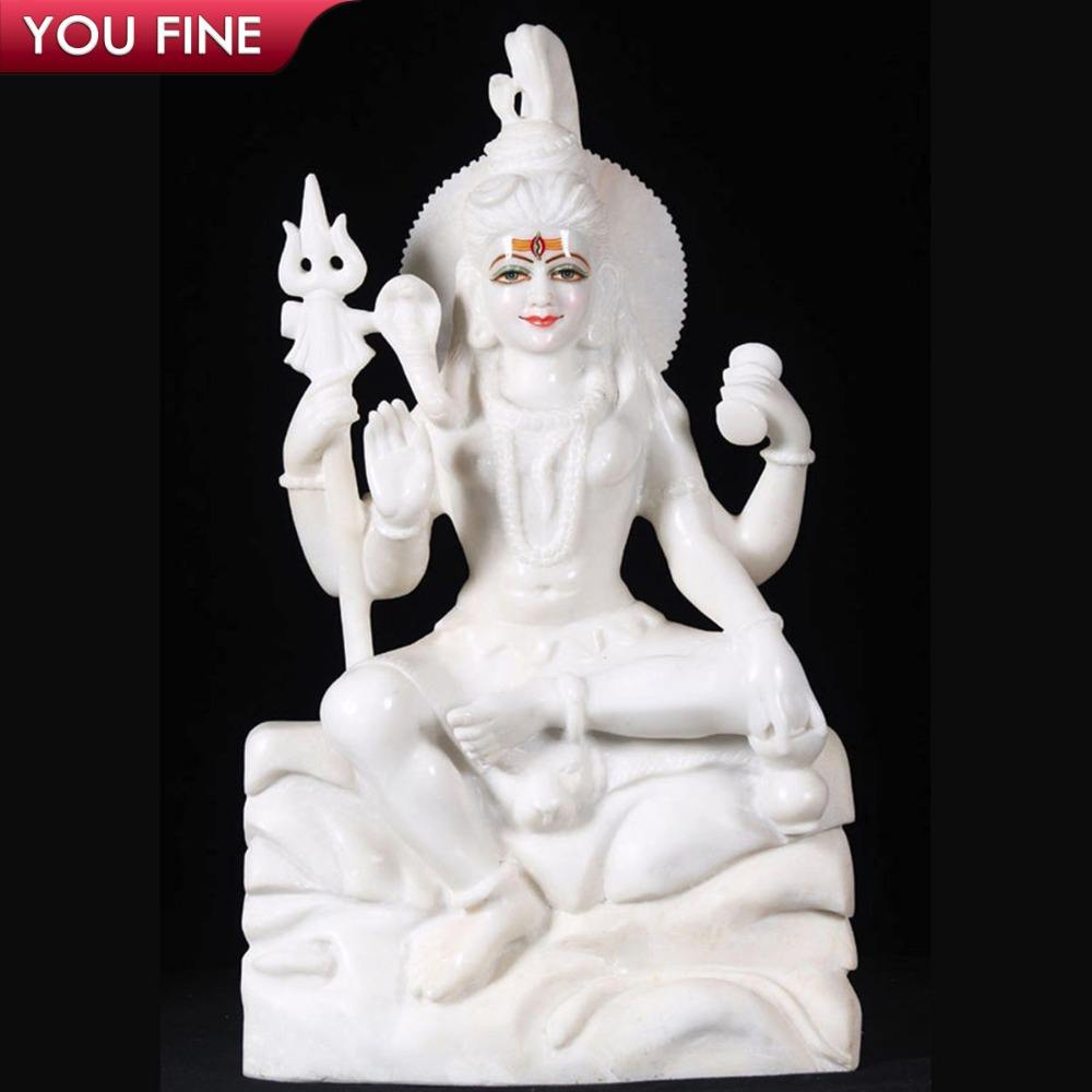 Detailed Carving Indian Religious Natural Marble Shiva God Sculpture