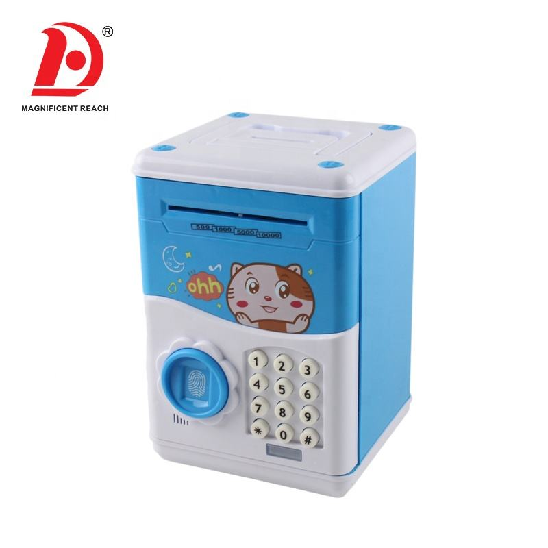 HUADA 2020 Kids Pretend Play Fingerprint Password Portable ATM Bank Cash Save Money Box Toy with Music