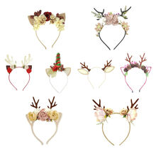 Party Decoration Hair Accessories Animal Headband Custom Christmas Cat Ears Deer Antlers Headband