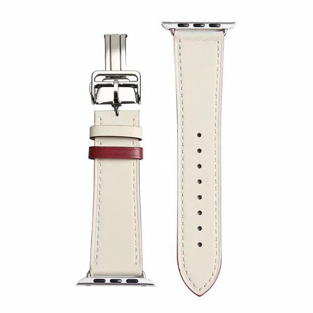 Luxury design stainless steel butterfly button real leather watch straps for apple watch