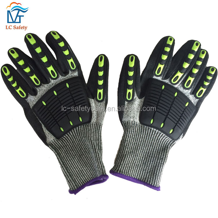 TPR Protection Anti Cut Level 5 Gloves Anti Vibration Heavy Duty Work Impact Gloves