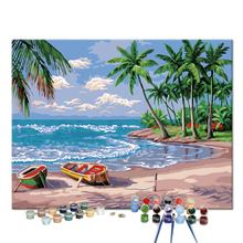 Custom Beautiful DIY Sea Beach Palm Tree Frameless Pictures Painting by Numbers