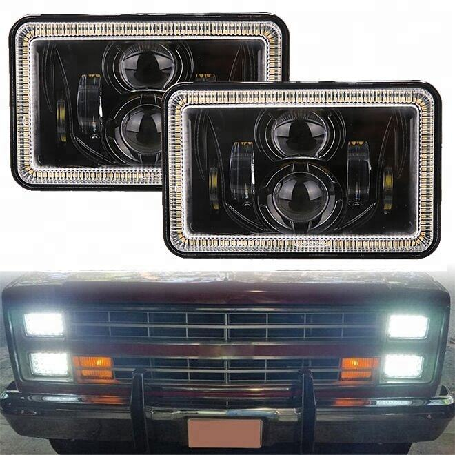 MORSUN 4X6'' Led headlights square high power led truck work lights 4x6 led headlight With DRL amber Turn