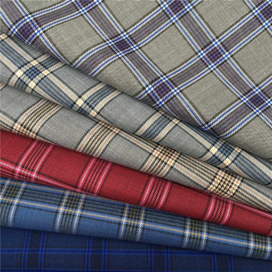 New polyester rayon plaid design txtured woven fabric suiting men's suit blazer pants uniform garment