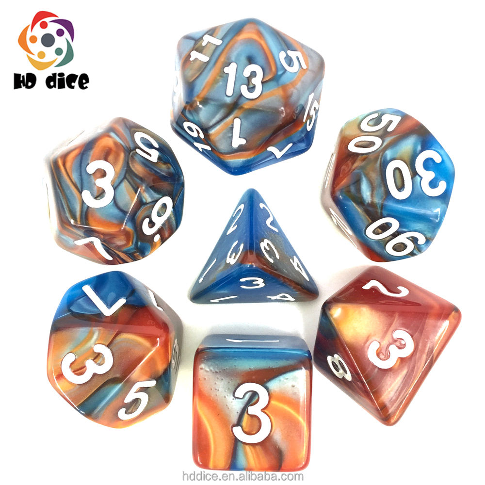 7 pcs Multicolor Polyhedral Dice Set for RPG Games and Dungeons and Dragons