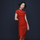 JINYE Red Raglan Sleeve Flower Embroidered Lace Midi Modern Qipao for Wedding cheongsam dress