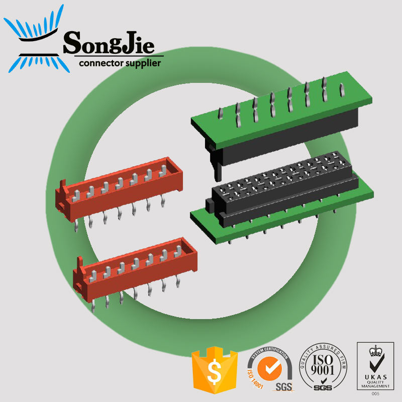 dual smd male idc connector pin 2.54mm pitch, tin or gold flash/plated wire to board