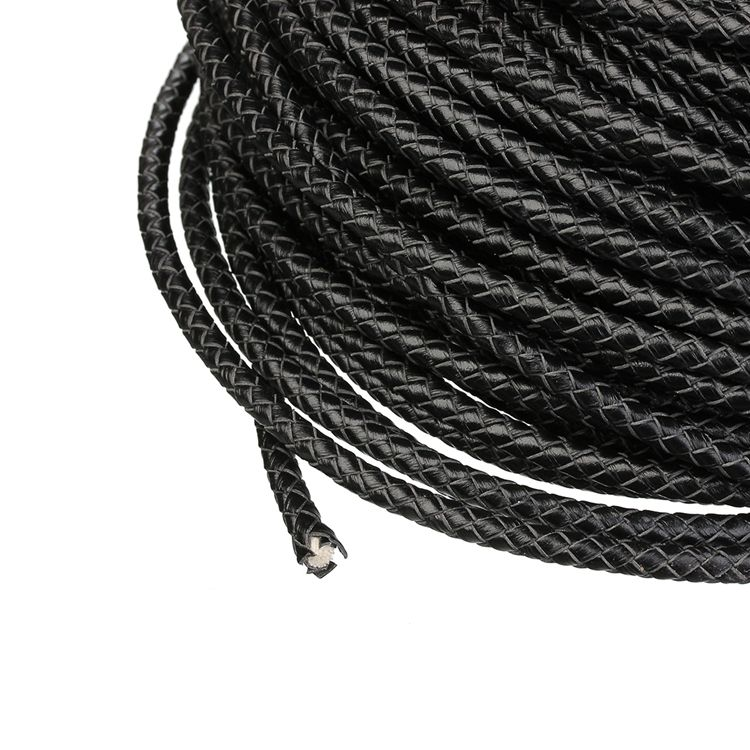 5mm wholesale black round necklace leather rope braided cord for DIY bracelets making
