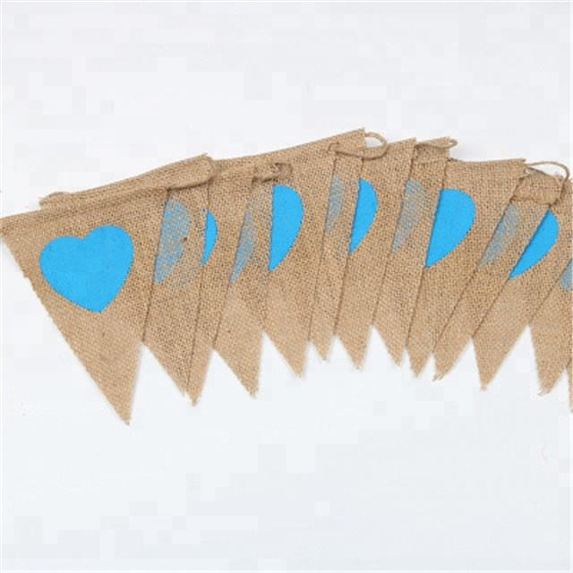 13pcs Blue Heart Rustic Garland Style Natural Jute Burlap Hessian Vintage Flag Wedding Home Party Decor Banner Bunting Supplies