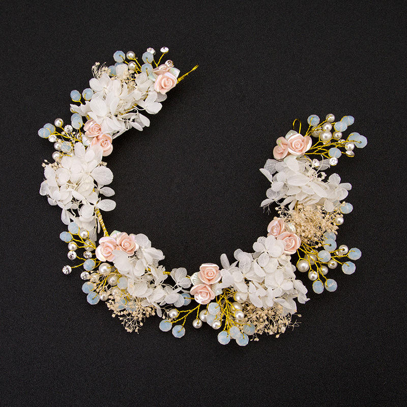 Handmade Wedding Hair Jewelry Bridal Flower Headband Pearl Beads Headpieces For Brides Hair Accessories