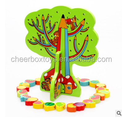 Children's educational toys wooden sawing toys Fruit string music