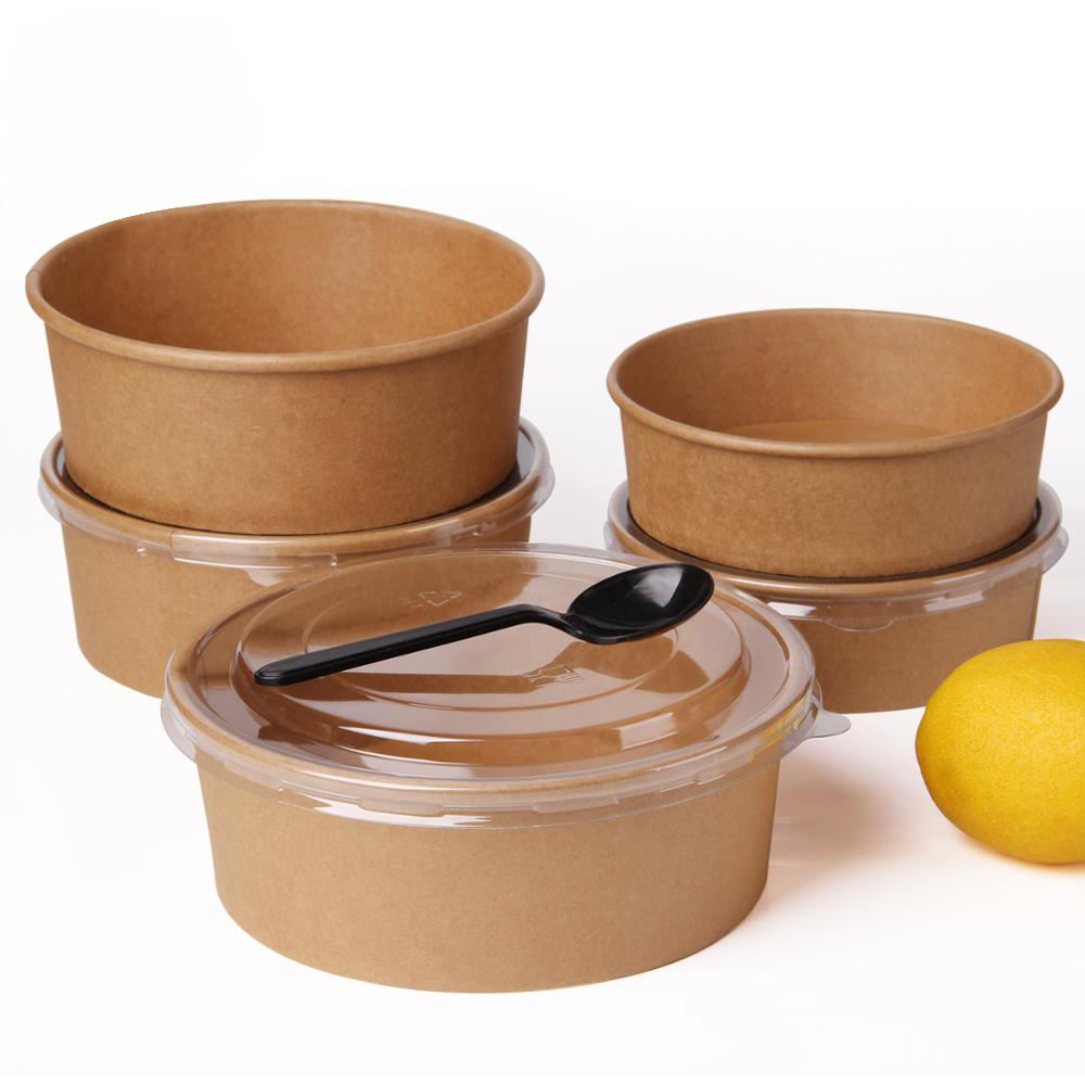 disposable take away kraft paper salad bowl with PET lid,kraft salad bowl
