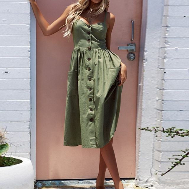Women's Sexy Summer Dresses 2018 Boho Plus XXXL Backless Sleeveless Button Striped Solid Midi Dress Slip Sundress With Pockets