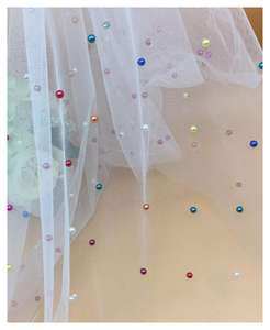 The factory outlet 100% polyester custom full beaded lace tulle fabric with pearls