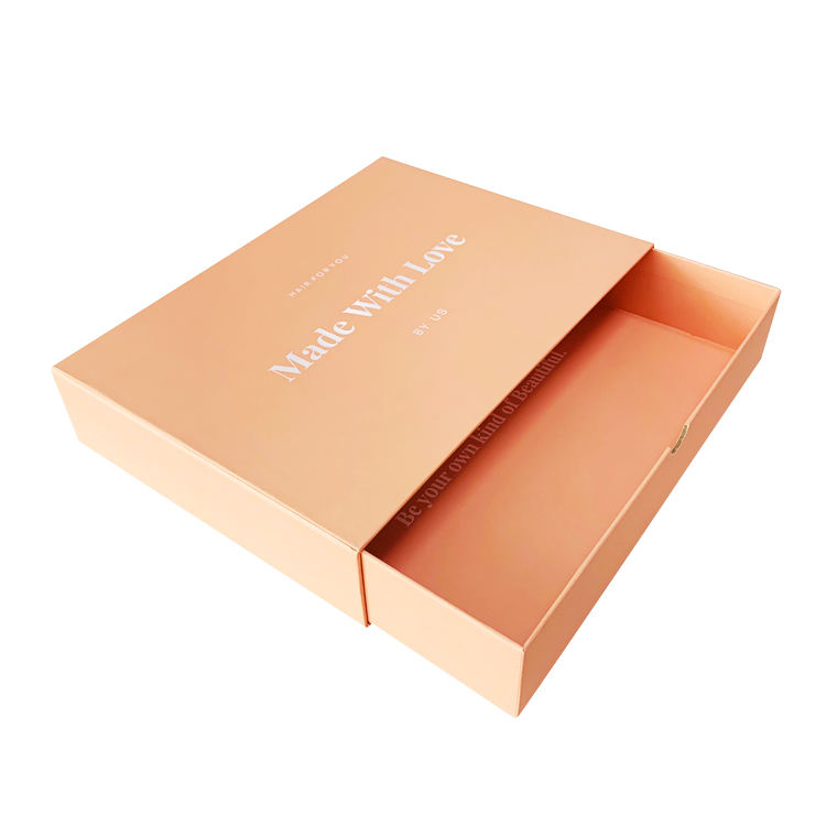 Yilucai Custom Recycling Pink Cardboard Drawer Gift Box Hair Bundles Packaging Box