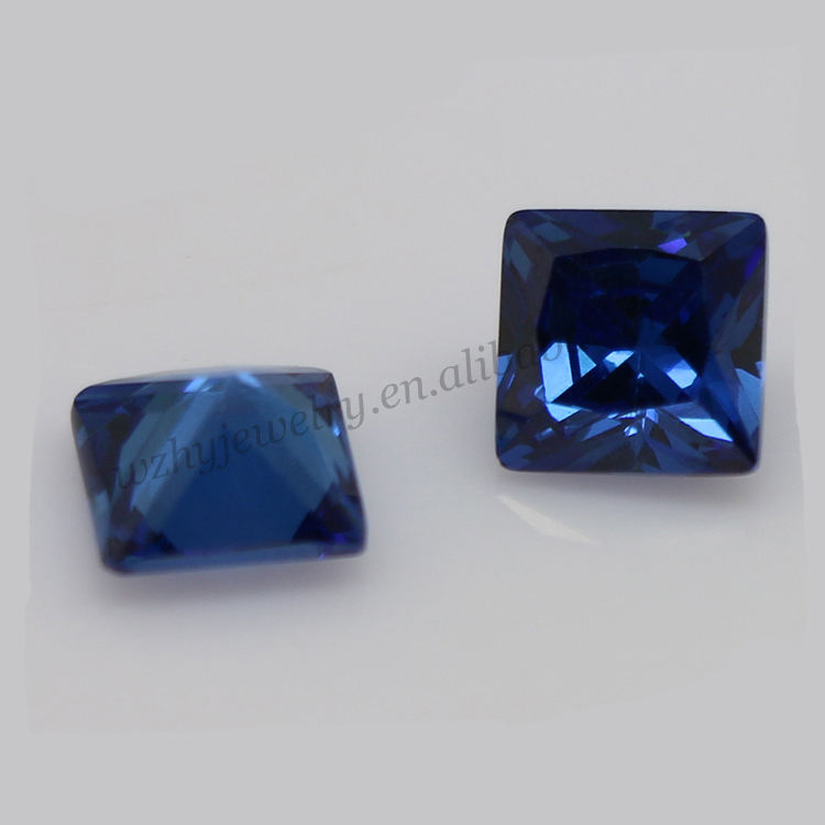 Factory cheap price professional princess cut sapphire blue cubic zirconia stone jewelry