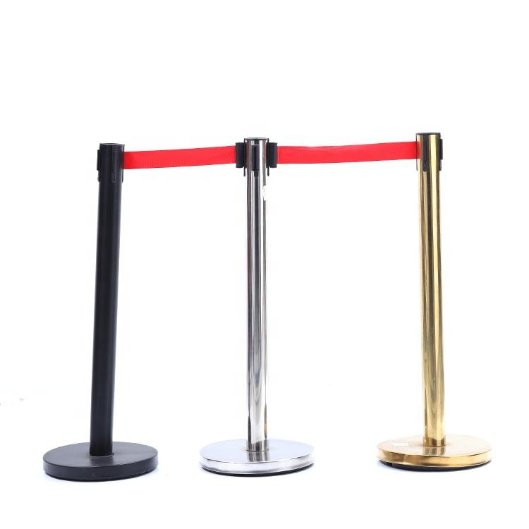 Stainless Steel Plastic Portable Retractable Queue Crowd Control Post Stanchion Q Manager Rope Barrier Pole Barrier Queue Stand