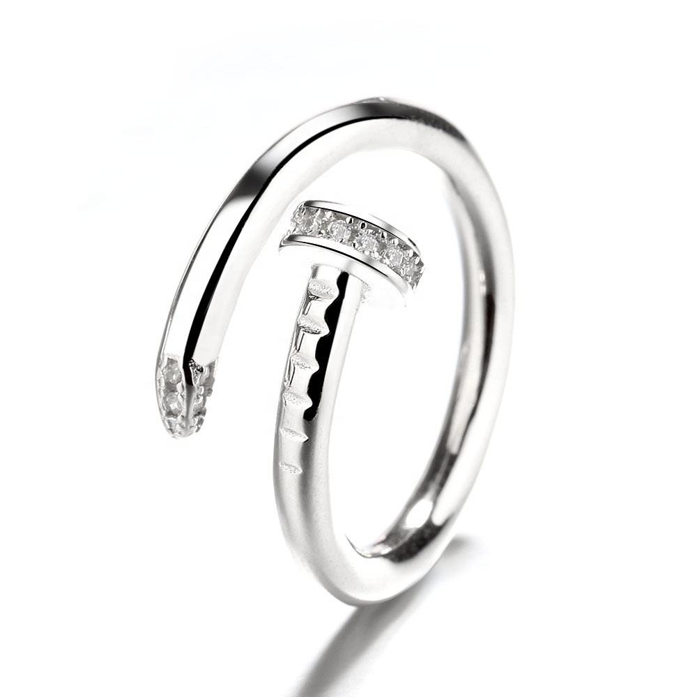 Hot Sale Creative Personality Men Women Real 925 Sterling Silver Ring Adjustable Cz Nail Ring Jewelry