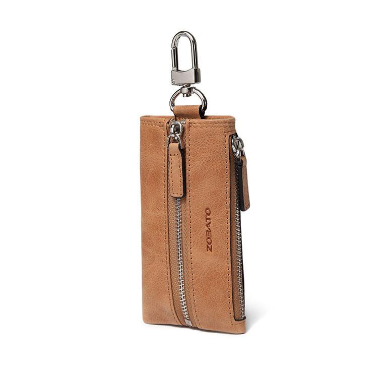 Wholesale multifunction genuine cowhide leather unisex key chain wallet car key holder